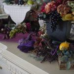 ドライフラワーの鶏頭と紫陽花とカルトナージュ ー2016年の秋の教室より