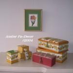 ミモザ柄の箱とチューリップ